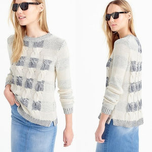 J. Crew Cotton Cable Sweater in Marled Stripe